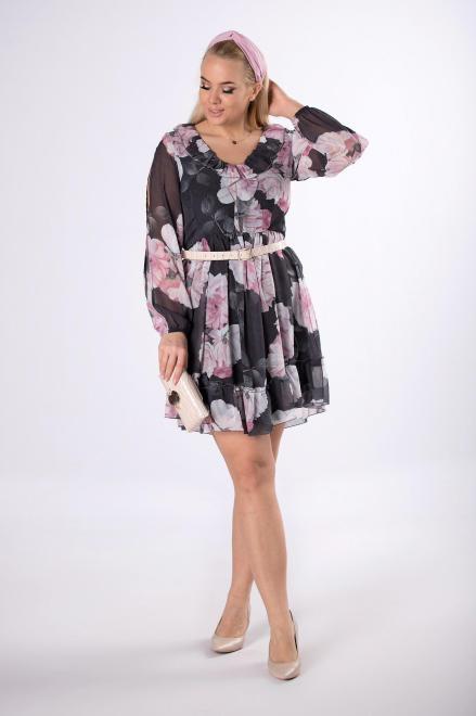 KAJA  szyfonowa sukienka w kwiaty  M83078 Платье Серый оптом