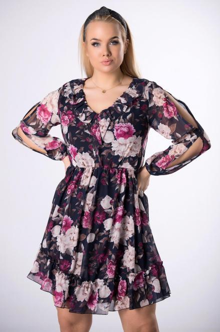 KAJA  szyfonowa sukienka w kwiaty  M83078 Платье Темносиний оптом