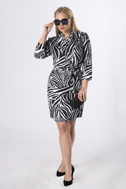 MARCELLO  wzorzysta sukienka z guzikami przy dekolcie  M83208 Платье Черный оптом