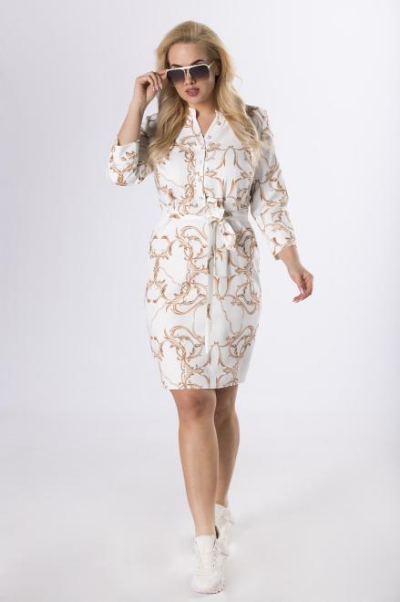 MARCELLO  wzorzysta sukienka z guzikami przy dekolcie  M83208 Платье Кремовый оптом