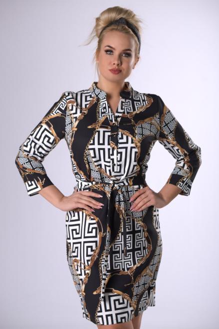 MARCELLO  wzorzysta sukienka z guzikami przy dekolcie  M83208 Платье Multikolor оптом