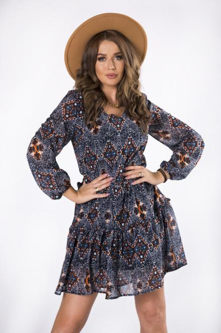 KAJA  tiulowa sukienka z bufiastymi rękawami M82263 Платье Multikolor оптом