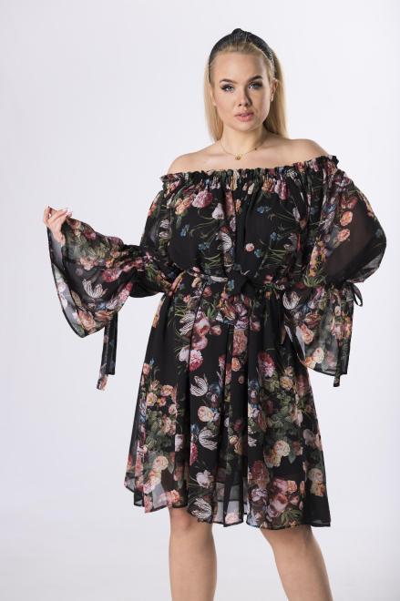 MARTEX  szyfonowa sukienka z hiszpańskim dekoltem  M83090 Платье Черный оптом
