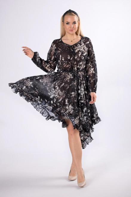MADAM TRIS  szyfonowa sukienka z regulowanym ściągaczem w pasie  M83031 Платье Черный оптом