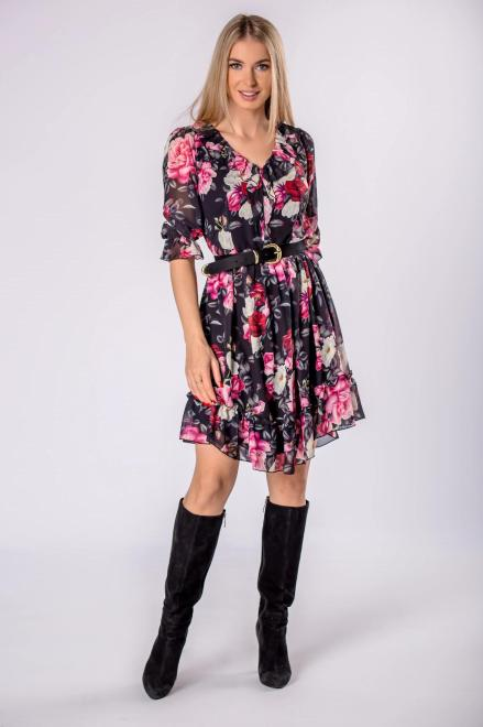 KAJA  tiulowa sukienka z falbanami na biuście  M81857 Платье Черный оптом