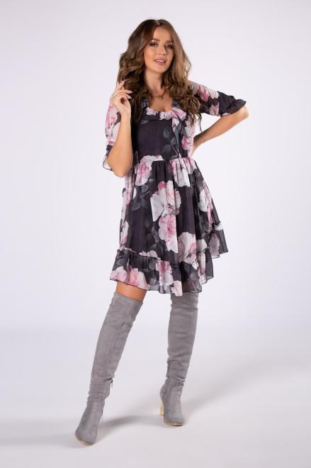 KAJA  tiulowa sukienka z falbanami na biuście  M81857 Платье Серый оптом