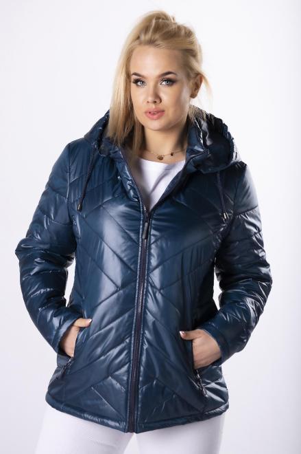 JUS-POL  taliowana kurtka z kapturem  M83185 Куртка Темносиний оптом