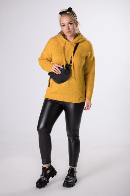 MADAM TRIS  woskowane legginsy z gumką w pasie  M83093 Брюки Черный оптом