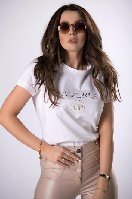 LA PERLA  t-shirt z printem  M83310 Блузка Белый оптом