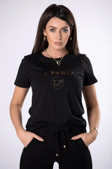 LA PERLA  t-shirt z printem  M83310 Блузка Черный оптом