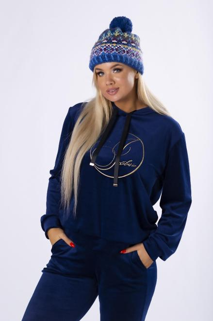 IWA  welurowy komplet dresowy z wyszywanym napisem M82348 Трикотажные брюки Темносиний оптом