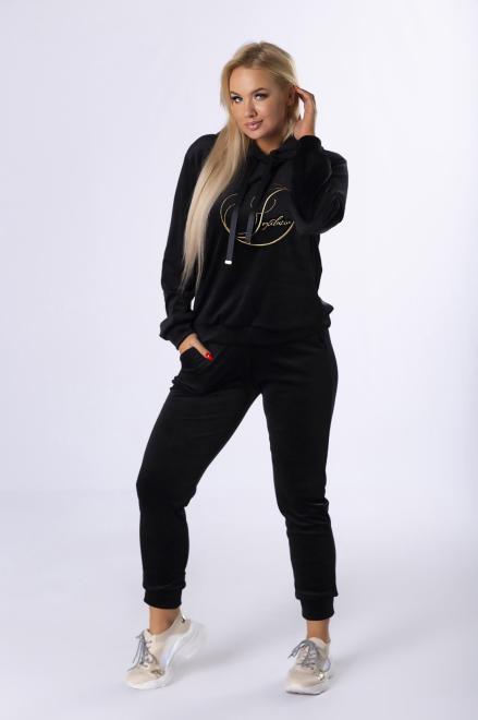 IWA  welurowy komplet dresowy z wyszywanym napisem M82348 Трикотажные брюки Черный оптом