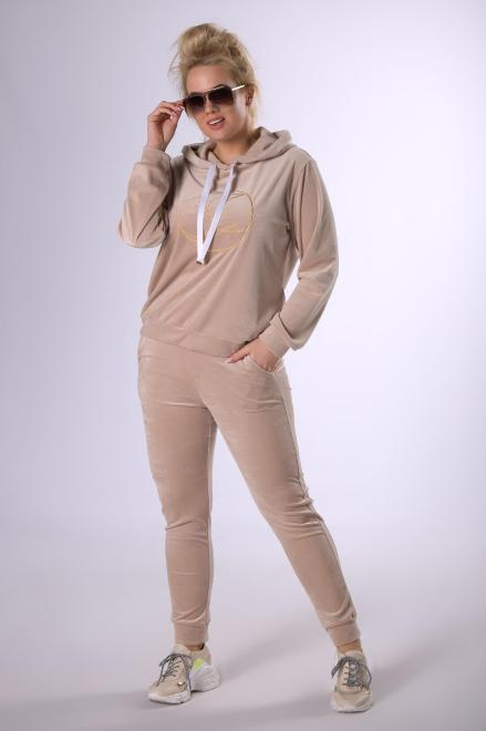 IWA  welurowy komplet dresowy z wyszywanym napisem M82348 Трикотажные брюки Бежевый оптом