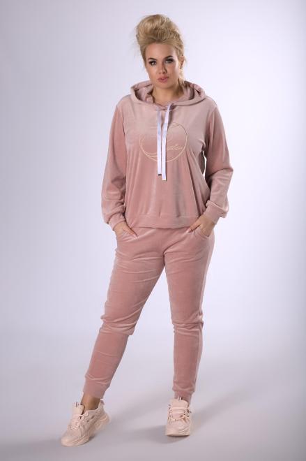 IWA  welurowy komplet dresowy z wyszywanym napisem M82348 Трикотажные брюки Розовый оптом