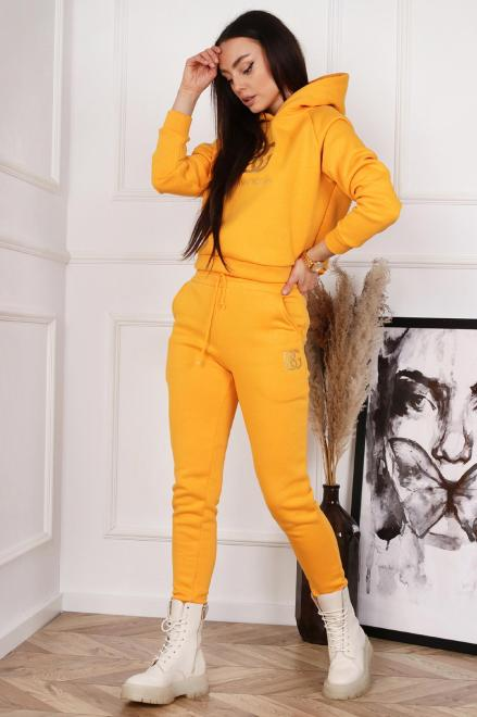 BRANDENBURG  bawełniany dres z wyszywanym napisem  M82957 Трикотажные брюки Желтый оптом