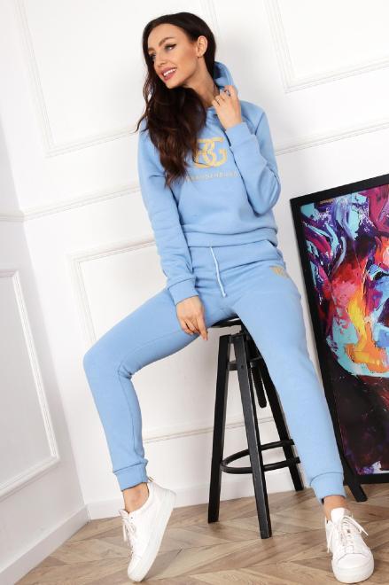 BRANDENBURG  bawełniany dres z wyszywanym napisem  M82957 Трикотажные брюки Голубой оптом