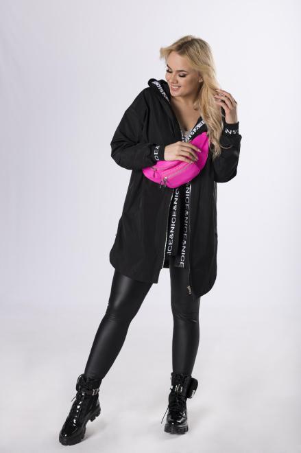 ADRAINO INES ROSE  sportowy płaszcz z ozdobnymi ściągaczami  M83239 Плащ Черный оптом