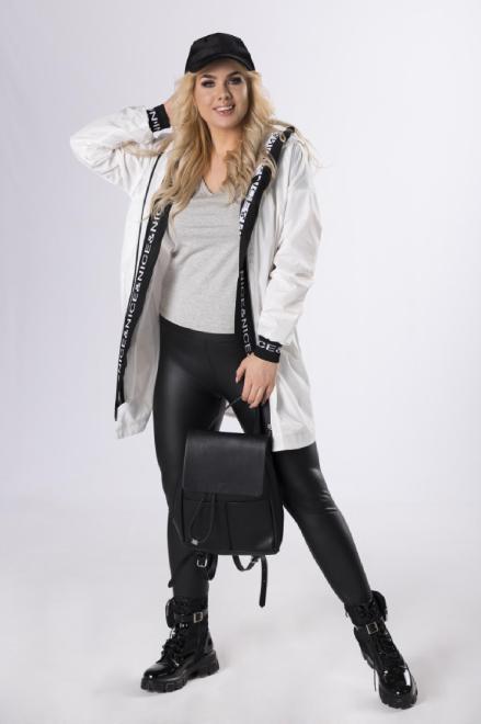 ADRIANO INES ROSE  sportowy płaszcz z ozdobnymi ściągaczami  M83239 Плащ Белый оптом
