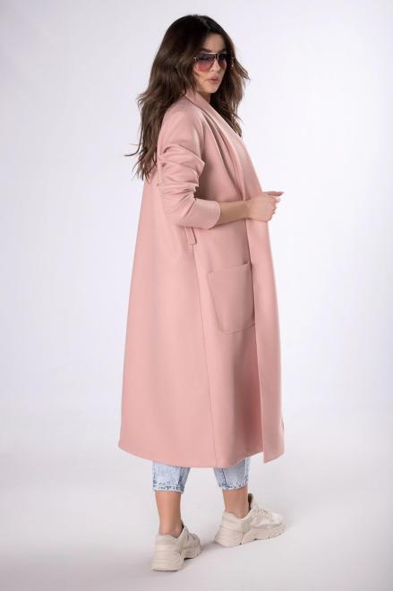 KAJA  długi płaszcz z paskiem  M83356 Плащ Розовый оптом