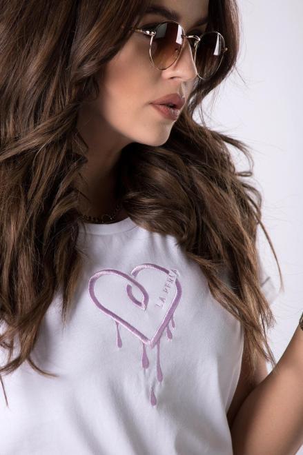 LA PERLA  t-shirt z wyszywaną aplikacją  M83306 Блузка Белый оптом