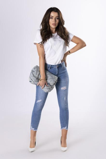 LA PERLA  t-shirt z aplikacją  M83309 Блузка Белый оптом