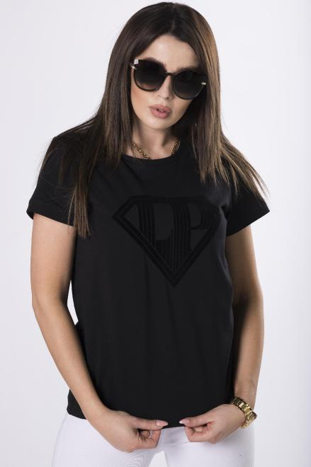 LA PERLA  t-shirt z aplikacją  M83309 Блузка Черный оптом