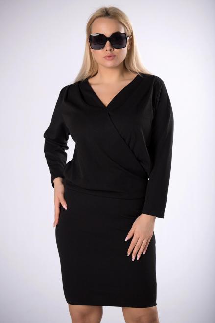 POKER  sukienka z kopertową zakładką M77430 Платье Черный оптом