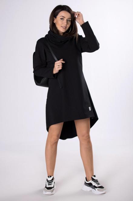 IWA  dresowa sukienka z wydłużonym tyłem  M83308 Платье Черный оптом