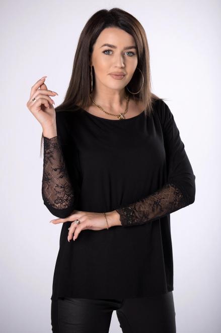 Bien Fashion  bluzka z koronkowymi rękawami  M83168 Блузка Черный оптом