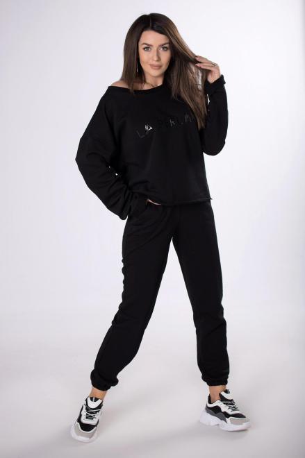 LA PERLA  dresowy komplet o grubszym splocie M83305 Трикотажные брюки Черный оптом