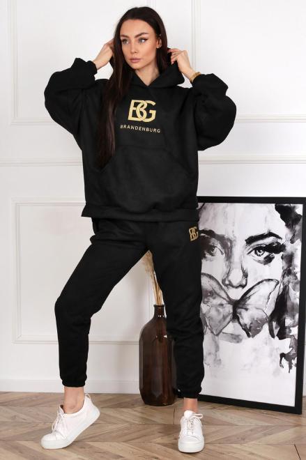 BRANDENBURG  dresowy komplet suede M83409 Трикотажные брюки Черный оптом