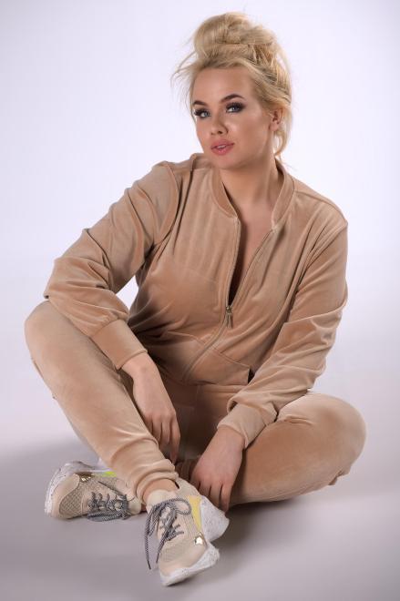 IWA  welurowy dres z rozpinaną bluzą M83307 Трикотажные брюки Бежевый оптом
