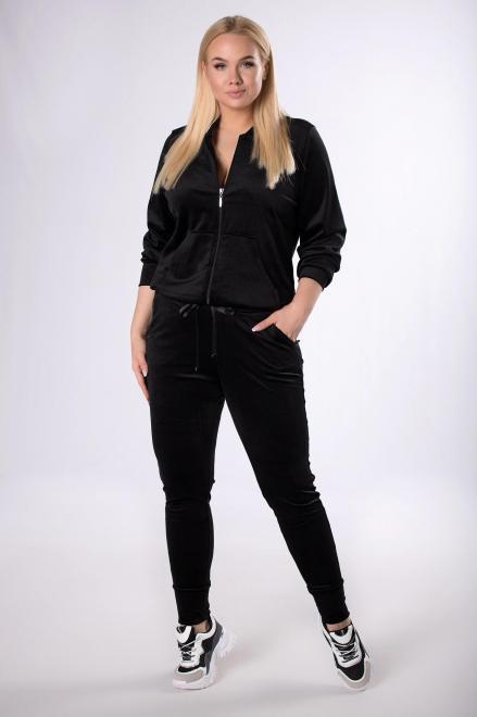 IWA  welurowy dres z rozpinaną bluzą M83307 Трикотажные брюки Черный оптом
