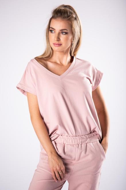 OOH LA LA  bawełniany t-shirt z dekoltem V M78788 Блузка Розовый оптом