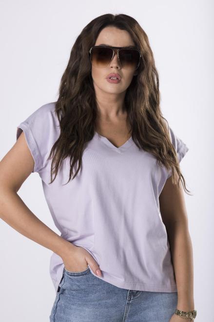 OOH LA LA  bawełniany t-shirt z dekoltem V M78788 Блузка Фиолетовый оптом