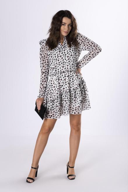 MERSI  wzorzysta sukienka z szyfonu  M83156 Платье Кремовый оптом