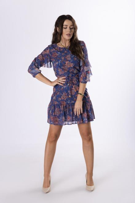 BODOO  szyfonowa sukienka z wiązaniem w pasie  M79053 Платье Multikolor оптом