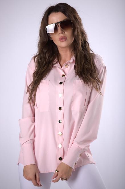 MIELCZARKOWSKI  klasyczna koszula z połyskującymi guzikami  M83269 Рубашка Розовый оптом