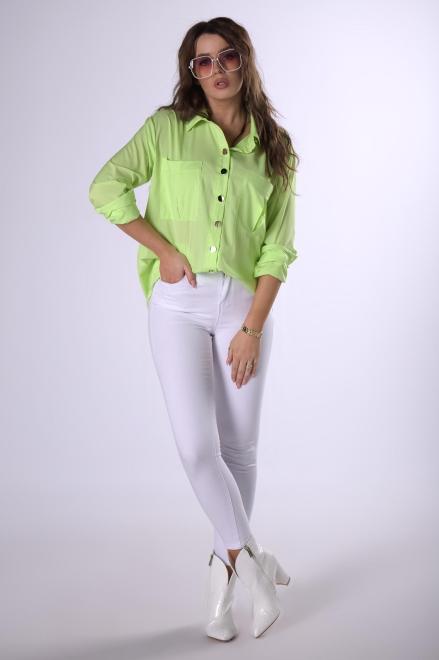MIELCZARKOWSKI  klasyczna koszula z połyskującymi guzikami  M83269 Рубашка Зеленый оптом