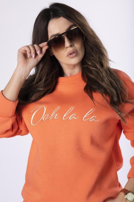 OOH LA LA  sportowa bluza z wyszywaną aplikacją M83341 Блуза Оранжевый оптом