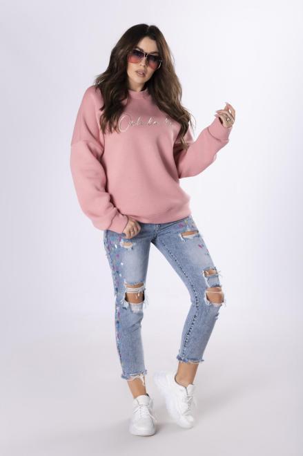 OOH LA LA  sportowa bluza z wyszywaną aplikacją M83341 Блуза Розовый оптом