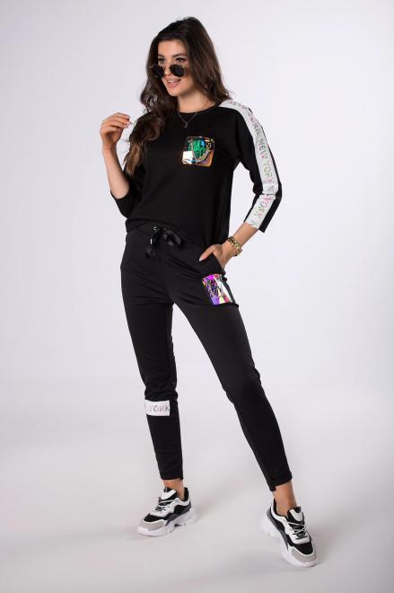 BB  dresowe spodnie typu slim  M83366 Брюки Черный оптом