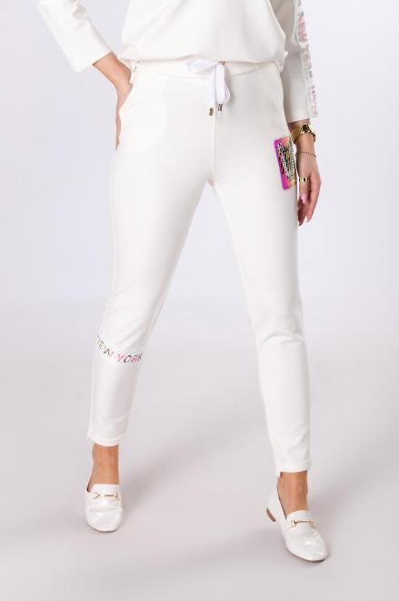 BB  dresowe spodnie typu slim  M83366 Брюки Кремовый оптом