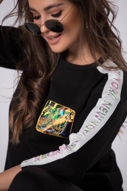 BB  dresowa bluza z holograficzną aplikacją M83365 Блуза Черный оптом