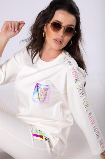 BB  dresowa bluza z holograficzną aplikacją M83365 Блуза Кремовый оптом