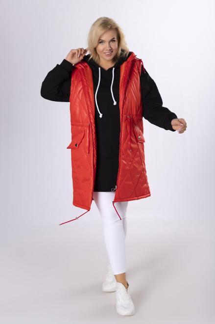HOLI  pikowana kamizelka ze ściągaczem w pasie M81650 Жилетка Красный оптом