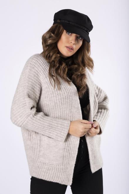 NATI  casualowy sweter bez zapięcia  M82236 Свитер Бежевый оптом