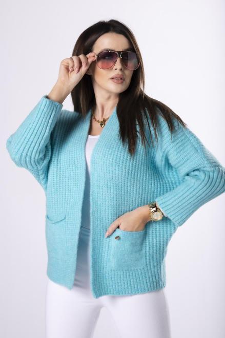 NATI  casualowy sweter bez zapięcia  M82236 Свитер Голубой оптом