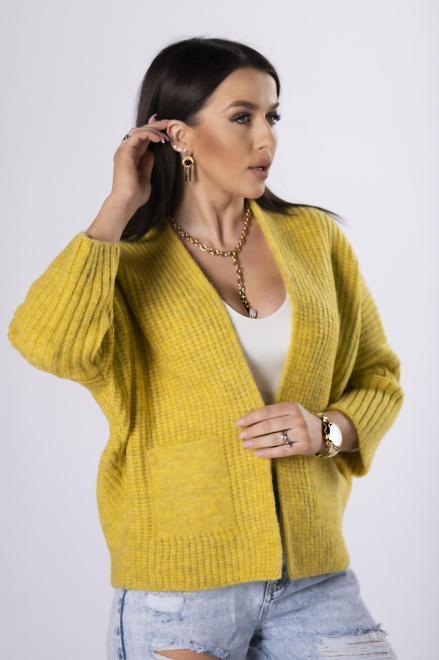 NATI  casualowy sweter bez zapięcia  M82236 Свитер Желтый оптом