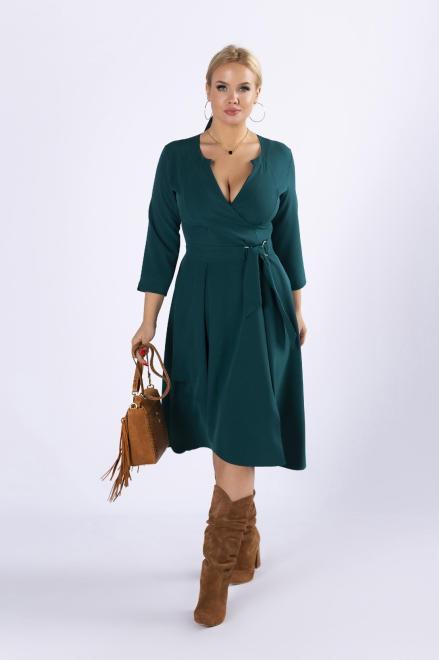 POKER  sukienka o kopertowym kroju z wiązaniem w pasie M73590 Платье Зеленый оптом